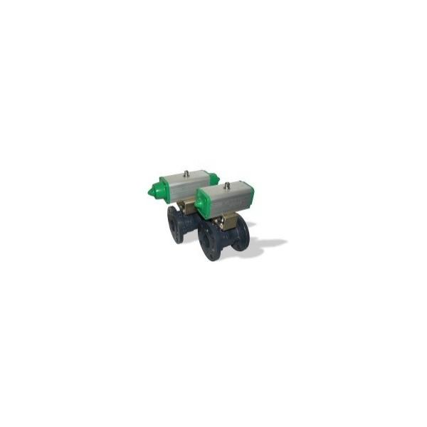 507 DN100 + GD kulový kohout přírubový s pneupohonem dvojčinným