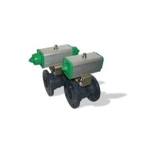 507 DN150 + GD kulový kohout přírubový s pneupohonem dvojčinným