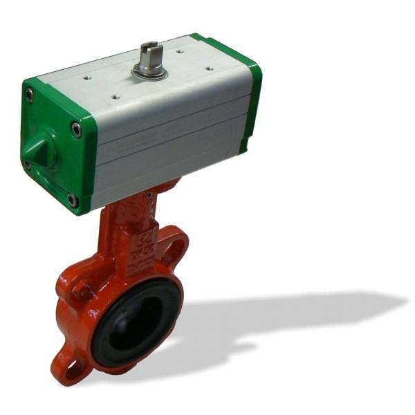 620B, DN65 + GD mezipřírubová klapka s pneupohonem dvojčinným